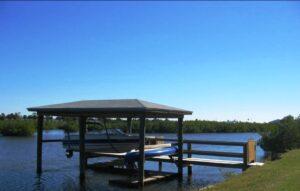 Dock & Boat Lift on River
